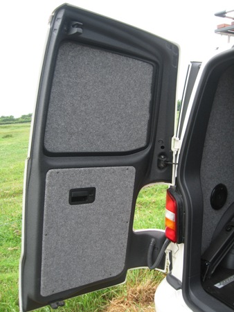 Rear door lined with Velour Carpet and Linex (Click to enlarge)